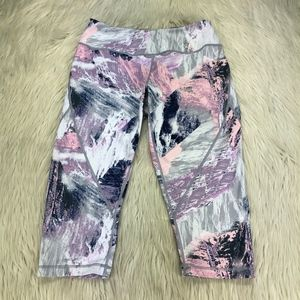 Zella Marbled High Waist Cropped Athletic Leggings